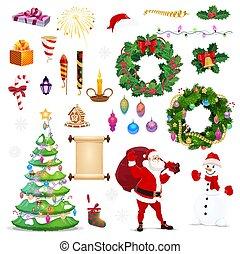 zima, ikony, rok, nowy, święto, boże narodzenie