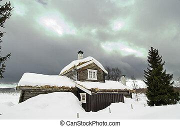zima, kabina