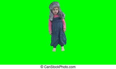 zima kapelusz, odizolowany, skokowy, ciepły, zielony, dziecko, dziewczyna, berbeć, godny podziwu