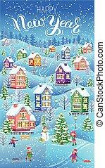 zima, karta, pionowy, szczęśliwy nowy rok