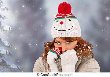 zima, kobieta, z, snowman kapelusz