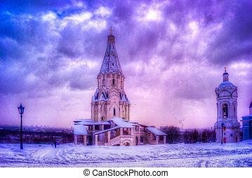 zima, kolomenskoye, moskwa, po, opad śnieżny, kościół, podniesienie, prospekt