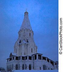 zima, kolomenskoye, po, moskwa, kościół, podniesienie, opad śnieżny, rosja, prospekt
