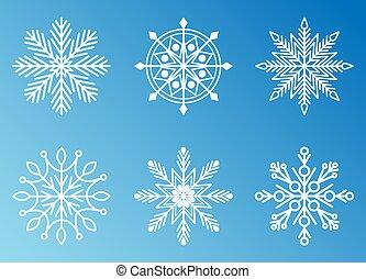 zima, komplet, płatek śniegu