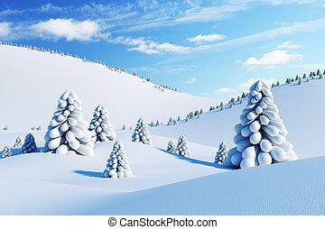 zima krajobraz, z, drzewa jodły