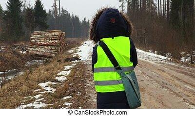 zima, leśnictwo, las, samica, mokry, pracownik, droga