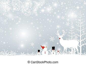 zima, liście, ilustracja, boże narodzenie, renifer, wektor, projektować, sosna, tło, płatek śniegu, las