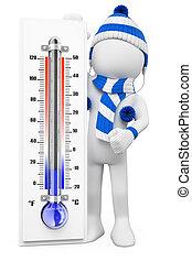 zima, ludzie., dni, biały, przeziębienie, 3d