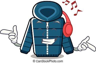 zima marynarka, odizolowany, muzykować słuchanie, maskotka