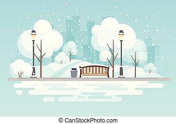 zima, miasto, park.