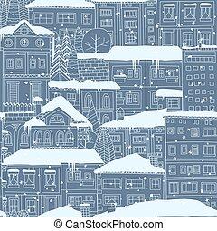 zima, miasto, seamless, pattern., doodled, domy, i, drzewa, pokryty, w, snow.