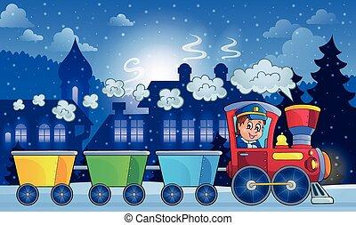 zima, miasto, z, pociąg