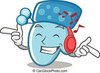zima, muzyka, drewniany, rękawiczki, słuchający, kłaść, stół, rysunek