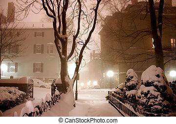 zima, noc