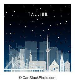 zima, noc, tallinn.
