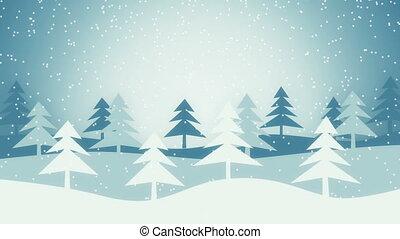 zima, ożywienie, scena, loopable, boże narodzenie