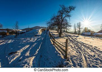 zima, ohradit, sněžný, bojiště, vesnice, selský