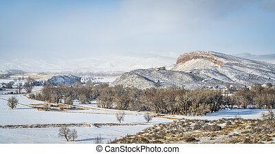 zima, panorama, kolorado, wiejski