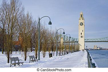 zima, park, przez, rzeka, zegarowa wieża, śnieg, montreal