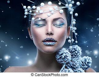 zima, piękno, woman., boże narodzenie, dziewczyna, makijaż