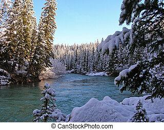 zima, potok