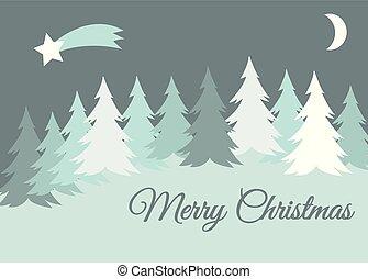 zima, pozdrav, sněžit, strom, vektor, krajina, veselý, fešný, pokrytý, vánoce karta, vyvýšenina