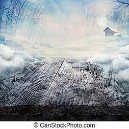 zima, projektować, -, mrożony, drewniany stół, z, krajobraz