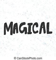 zima, rysunek, boże narodzenie, pociągnięty, wesoły, szczęśliwy, wektor, pora, lettering., ilustracja, year., ręka, magical., nowy, rzeźnik