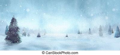 zima, snowy drzewa