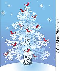 zima, sosna, z, czerwony, ptaszki