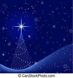 zima, spokojny, drzewo, opad śnieżny, noc, boże narodzenie