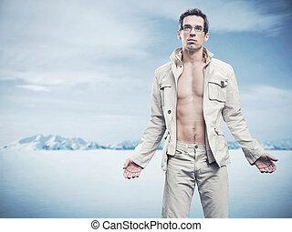 zima, styl, fason, fotografia, od, na, przystojny, człowiek