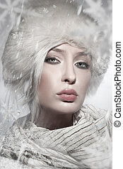 zima, styl, portret, od, niejaki, piękny, osóbka
