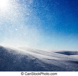 zima, tło, śnieżyca