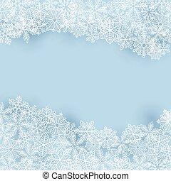 zima, tło, z, płatki śniegu
