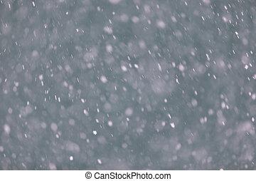 zima, tło, z, spadanie, snow.