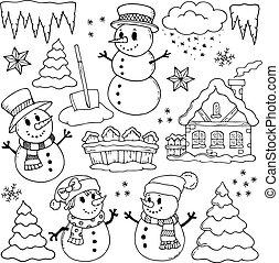 zima, temat, rysunki, 2