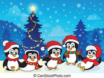 zima, temat, z, pingwiny, 4