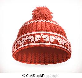 zima, trykotowy, wektor, hat., 3d, czerwony, ikona
