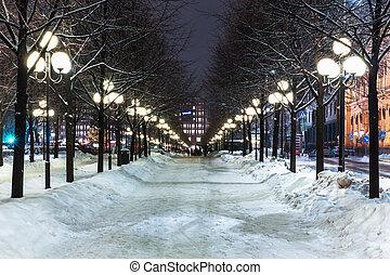 zima, w, sztokholm, szwecja