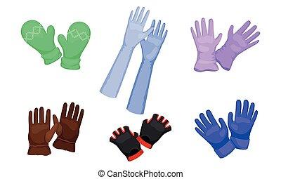 zima, wektor, jesień, różny, handwear, pora, rękawice, ...