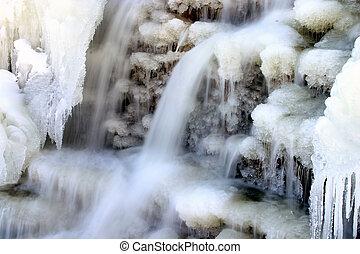 zima, wodospad