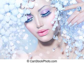 zima, woman., piękny, fason modelują, z, śnieg, fryzura