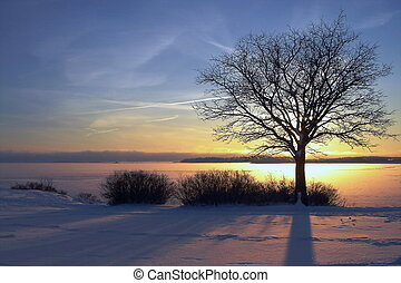 zima, západ slunce