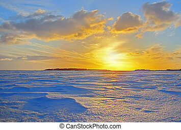 zima, zachód słońca, na, mrożony, baltyk, w, finlandia