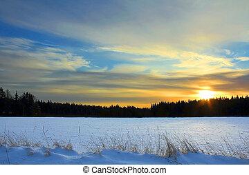 zima, zachód słońca, w, finlandia