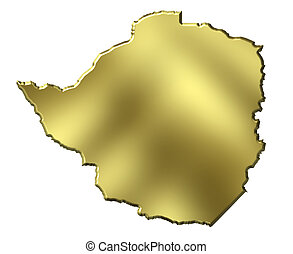 Zimbabwe 3d Golden Map