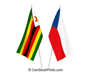 Zimbabwe and Czech Republic flags - National fabric flags of...