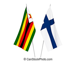Zimbabwe and Finland flags - National fabric flags of ...