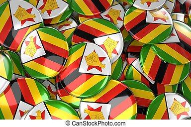 Zimbabwe Badges Background - Pile of zimbabwean Flag Buttons...